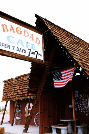 holidays vacancy: Bagdad, California, USA-Oct 29, 2015: The Bagdad Cafe from the 1960 s along Route 66 in the Mojave Desert that was made famous upon the release of the 1987 German film under the same name.