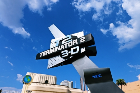 Osaka, Japan-August 18: The theme park attractions (TERMINATOR 3-D) based on the film industry at Universal Studios JAPAN Theme Park in Osaka, Japan on August 18, 2016.