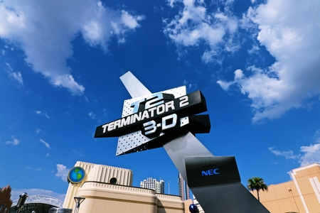 monster movie: Osaka, Japan-August 18: The theme park attractions (TERMINATOR 3-D) based on the film industry at Universal Studios JAPAN Theme Park in Osaka, Japan on August 18, 2016.