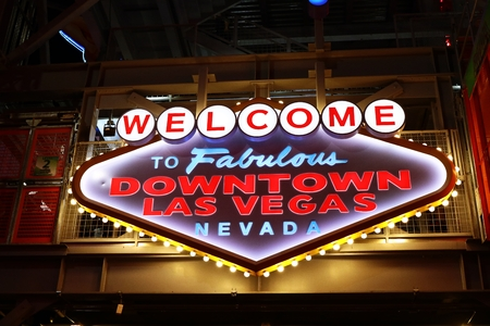 sin city: LAS VEGAS, USA-Oct 08: Welcome to Fabulous Downtown Las Vegas sign at Fremont Street on October 08, 2016 in Las Vegas.It is a major resort city known primarily for gambling, shopping, dining and nightlife
