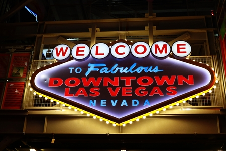 primarily: LAS VEGAS, USA-Oct 08: Welcome to Fabulous Downtown Las Vegas sign at Fremont Street on October 08, 2016 in Las Vegas.It is a major resort city known primarily for gambling, shopping, dining and nightlife