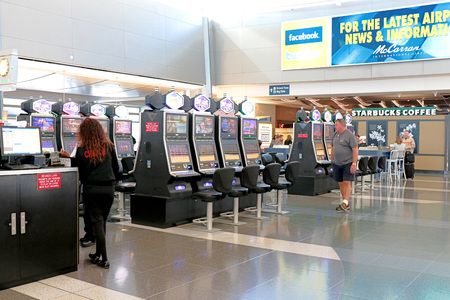 NV-11 OCT 2016, LAS VEGAS-McCarran International Airport (LAS), located south of the Las Vegas strip, is the main airport in Nevada. There are slot machines in the airport.