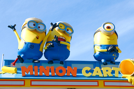 """OSAKA, JAPAN-JAN 07, 2017: Photo of """"HAPPY MINION MART"""" shop, selling Minion Goods, located in Universal Studios JAPAN in Osaka, Japan. Minions are famous character from Despicable Me animation."""
