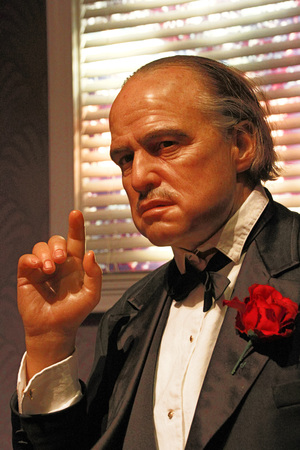 LOS ANGELES, CA-28 Oct 2013: Waxwork of Marlon Brando as Godfather Don Vito Corleone, Marlon Brando waxwork figure-Mad AME Tussauds Hollywood. Editorial
