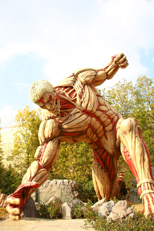 Osaka, Japan-Jan 21-2017: Attack on Titan attraction opens at Universal Studios japan captures the scale of the life-size statue  Shingeki no Kyojin Editorial