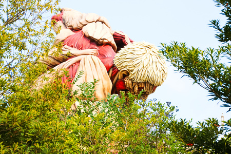 sesame street: Osaka, Japan-Jan 21-2017: Attack on Titan attraction opens at Universal Studios japan captures the scale of the life-size statue  Shingeki no Kyojin Editorial