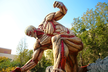 terminator: Osaka, Japan-Jan 21-2017: Attack on Titan attraction opens at Universal Studios japan captures the scale of the life-size statue  Shingeki no Kyojin Editorial