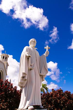 Guam island, USA-May 25, 2016: Statue of Missionary Saint Bitoresu at Dulce Nombre de Maria Cathedral Basilica of Guam Island, USA cathedral Father statue in Guam