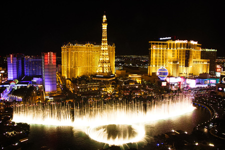 LAS VEGAS, USA-Oct 28: Fountains of Bellagio on Oct 28, 2015 in Las Vegas. Is a large dancing water fountain synchronized to music, the fountains of Bellagio, which have featured in several movies. Editorial