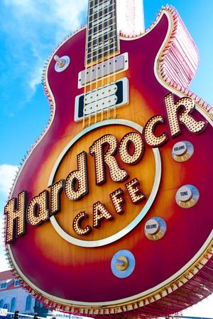 Las Vegas, USA-Oct 09, 2016: The Iconic sign of Hard Rock Cafe restaurant in Hard Rock Hotel Las Vegas, NV, USA. Hard Rock Cafe is a chain of theme restaurants. Editorial