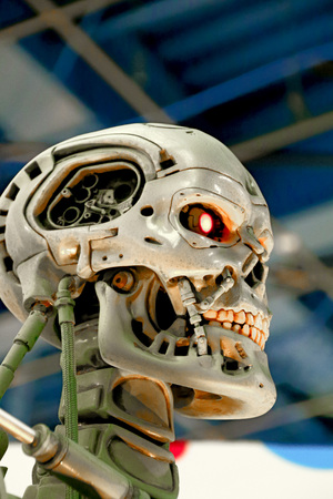 OSAKA, JAPAN-Jan 21, 2017: Photo of the t-800 End skeleton from the Terminator 3D, one of the most famous attraction at Universal Studios JAPAN, Osaka, Japan.