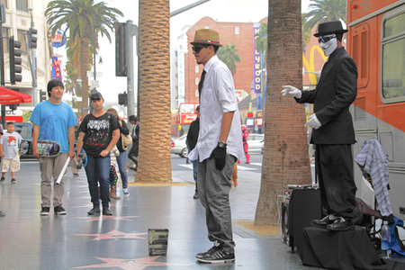 expressing: HOLLYWOOD-Nov 1, 2015: Street performer for tips on the world famous walk of fame on Hollywood blvd in Hollywood, CA.