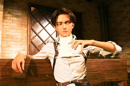 levi: Osaka, Japan-Feb 12 2016: Attack on Titan at Universal Studios japan, Clone-oid of Levi soldier chief Shingeki no Kyojin Editorial