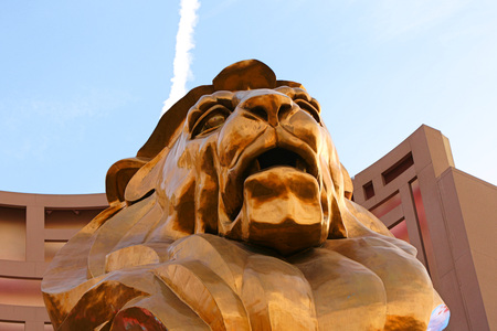 LAS VEGAS Nevada State, Oct 09 2016 Las Vegas Boulevard at Morning, MGM GRAND CASINO AND HOTEL, Statue of Gold Lion