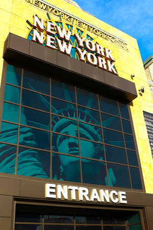 hotel building: LAS VEGAS - October 09: Entrance of New York-New York, located on the Las Vegas Strip is shown on October 09, 2016 in Las Vegas.