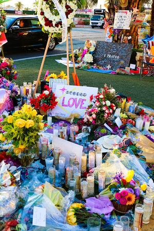 LAS VEGAS – OCT 07, 2017: Memorial Message of the Las Vegas Shooting victims on the Las Vegas Strip Near the Mandalay Bay. Editorial