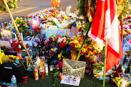 LAS VEGAS � OCT 07, 2017: Memorial Message of the Las Vegas Shooting victims on the Las Vegas Strip Near the Mandalay Bay. Editorial