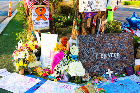LAS VEGAS – OCT 07, 2017: Memorial Message of the Las Vegas Shooting victims on the Las Vegas Strip Near the Mandalay Bay. Editorial