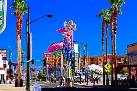 LAS VEGAS USA - OCTOBER 11 2017: Fremont Street Experience at morning. The district is famous for its numerous casinos performers and restaurants. Editorial