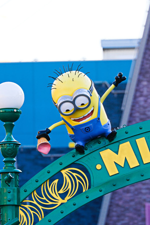OSAKA, JAPAN-December 02, 2017: Statue of MINION PARK ENTRANCE, located in Universal Studios JAPAN, Osaka, Japan. Minions are famous characters from Despicable Me animation. Editorial