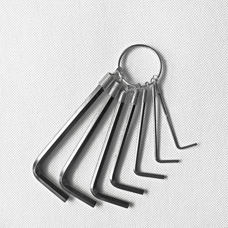 Hex key set isolated on white background. Closeup with clipping path