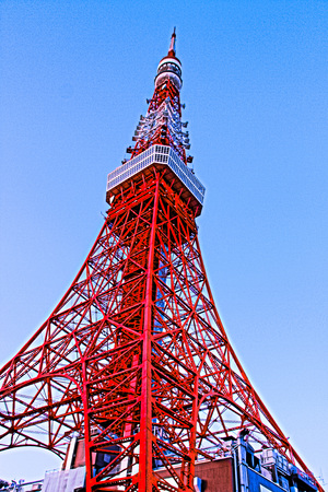 Tokyo Tower, Tokyo landmark with blue sky.