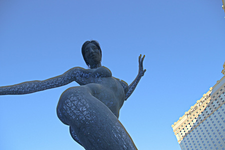 LAS VEGAS - October 07: The Bliss Dance Sculpture display at the t-mobile park in Las Vegas on October 07, 2017. The 40-foot-tall sculpture of a dancing woman created by artist Marco Cochrane.