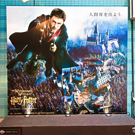 Osaka, Japan-FEB 03: Universal Studios Japan Information Sign is introduced on the Universal City Walk, Japan on FEB 0 3, 2018.
