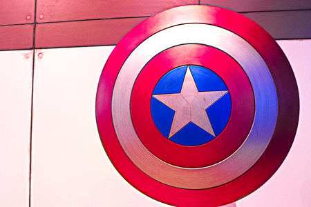 Las Vegas, USA-Oct 16, 2017: Shield of Captain America, Marvel cinematographic universe, the Avengers experience in T reasure Island Hotel and Casino on Las Vegas Strip.