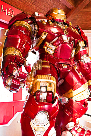 LAS VEGAS, NV, USA-Oct 09, 2017: Hulk Buster Iron Man costume at The Madame Tussauds museum in Las Vegas on October 09 2 017, The two-floor 30, square-foot museum has versus 100-plus wax replicas.