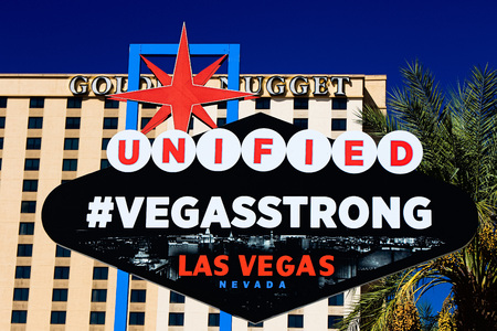 LAS VEGAS, NEVADA, OCT USA-10 2017: The VEGAS STRONG sign on bright sunny day in Downtown Las Vegas background of Golden N ugget Hotel, Nevada USA, 10 Oct-2017.