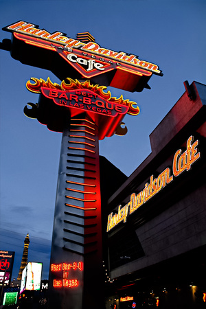Las Vegas, NV-October 10, 2017: Sign of Harley Davidson Las vegas Cafe in Las Vegas.The theme of the restaurant is the Harl EY Davidson Motor Company which began in 1903.