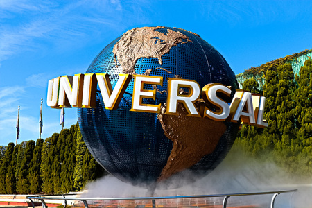 Osaka, Japan-Aug 8, 2018: The large rotating Universal logo globe. Universal Studios is one of Osaka famous theme parks. Redakční