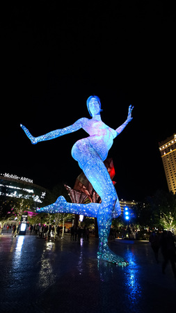 LAS VEGAS, NV / USA - October 07, 2017: The Bliss Dance Sculpture display at the T - Mobile park in Las Vegas. The 40 - foot - tall sculpture of a dancing woman created by artist Marco Cochrane.
