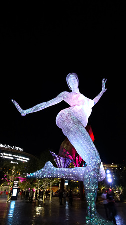 LAS VEGAS, NV  USA - October 07, 2017: The Bliss Dance Sculpture display at the T - Mobile park in Las Vegas. The 40 - foot - tall sculpture of a dancing woman created by artist Marco Cochrane.