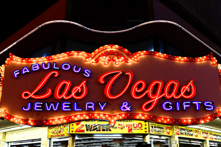 Las Vegas, NV/UA, on Sep 15, 2018: The beautiful neon sign for Las Vegas, a store at the Fremont Street Experience, a popula r area downtown Las Vegas, known for neon signs.
