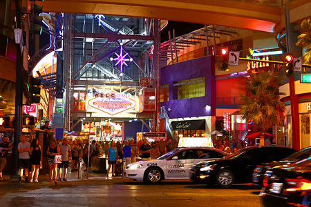 LAS VEGAS, NVUSA-Sep 16, 2018: The Fremont Street Experience on Sep 16, 2018, in Las Vegas, Nevada. The Fremont Street Experience is a pedestrian mall and attraction in downtown Las Vegas.