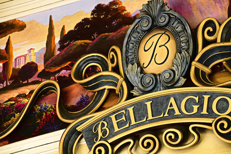 Las Vegas, NV/USA-Sep 15, 2018: Signs located at the top of the hotel entrance at Bellagio.Bellagio is a luxury hotel and Casino located on the famous Las Vegas Strip. 報道画像