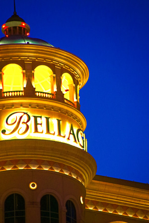 LAS VEGAS, NV/USA-Sep 18, 2018: Bellagio Hotel with Top Deck of Crown Exterior and casino in Las Vegas. Bellagio is a luxury hotel and casino located on the Las Vegas Strip.