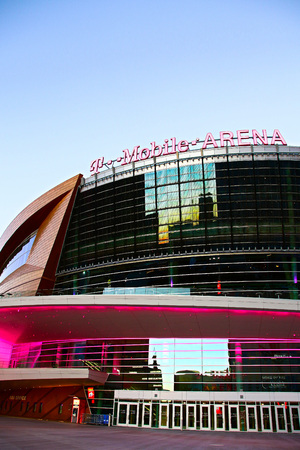 Las Vegas,NVUSA - Sep 17,2018 : Exterior view of the T Mobile Arena in Las Vegas. It is the home of the Golden Knights ice hockey team. Editorial