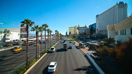 Las Vegas,NV/USA - Sep 16,2018 : View of the strip in Las Vegas. The Las Vegas Strip is anly 4.2-mile (6.8 km) stretch of Las Vegas Boulevard in Clark County Nevada.