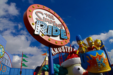 LOS ANGELES, CA/USA-OCT 29, 2014: The Simpsons Ride at Universal Studios Hollywood in Los Angeles. It is a theme park and film studio.