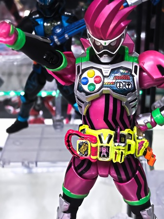 Osaka, Japan-Apr 23, 2019: Focused on fictional character figure from Japanese popular series KAMEN RIDER out of toys sho P.Character name is KAMEN RIDER Ex-AID. Éditoriale