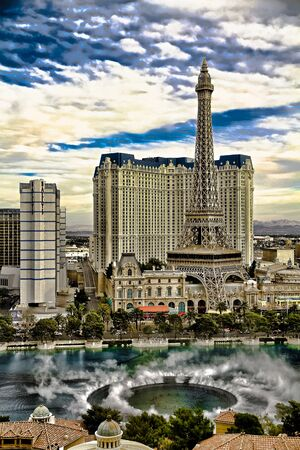 Las Vegas, NV/USA - Oct 24, 2014 : Aerial view of Bellagio the fountains show and Strip resorts of Las Vegas.Large dancing fountain of Bellagio is major attraction on the Las Vegas.