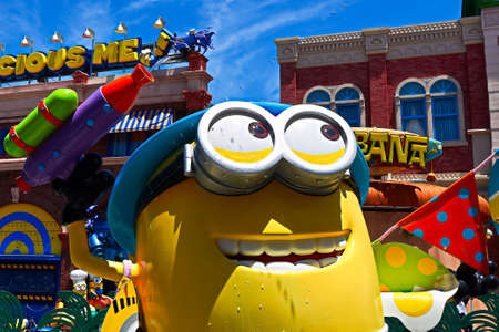 OSAKA, JAPAN - June 17, 2020 : Statue of HAPPY MINION easter version in Universal Studios Japan.Minions are character from Despicable Me animation.Universal Studios Japan reopening after COVID-19.