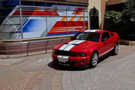 Osaka,Japan - June 17, 2020 : The car is Mr.Akai of the FBI detective appearing in Detective Conan World at Universal Studios Japan.Ford Mustang Shelby GT500 on display, USJ reopening after COVID-19