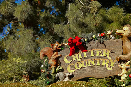 Anaheim, CA/USA - Nov 27, 2018 : Disneyland Critter Country Sign Where You Can Ride Splash Mountain and The Many Adventures of Winnie the Pooh. Black Lives Matter: Disney Ditches Retroversial Theme of