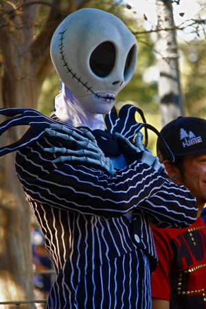 Anaheim, CA/USA - Nov 27, 2018 : Jack Skatington and SallyGreeting Seen at the Disneyland Park in Anaheim, California from the Movie Nightmare Before Christmas at the Lucca Comics & Games. Editorial