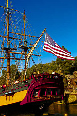 Anaheim, CA/USA - Nov 27, 2018 : Full-scale replica of a majestic 3-masted sailing ship from the 18th century. Ship is in the Rivers of America at Disneyland in California.The Original Columbia Beca