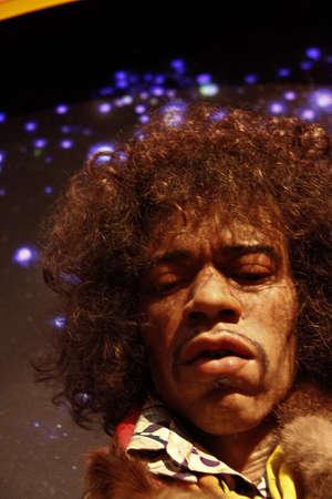 Las Vegas,NV/USA - Oct 09, 2017: Jimi Hendrix as James Marshall Hendrix famous guitarlist, Madame Tussauds canvas meter in Las Vegas Newa. 新闻类图片